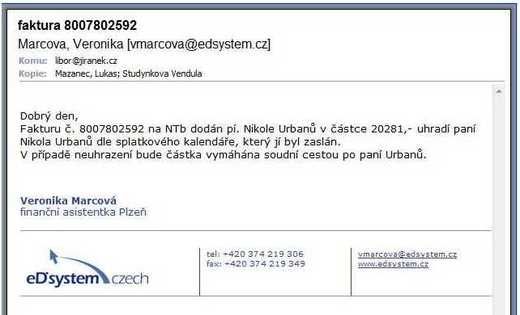 Email od eD' system Czech, a.s.